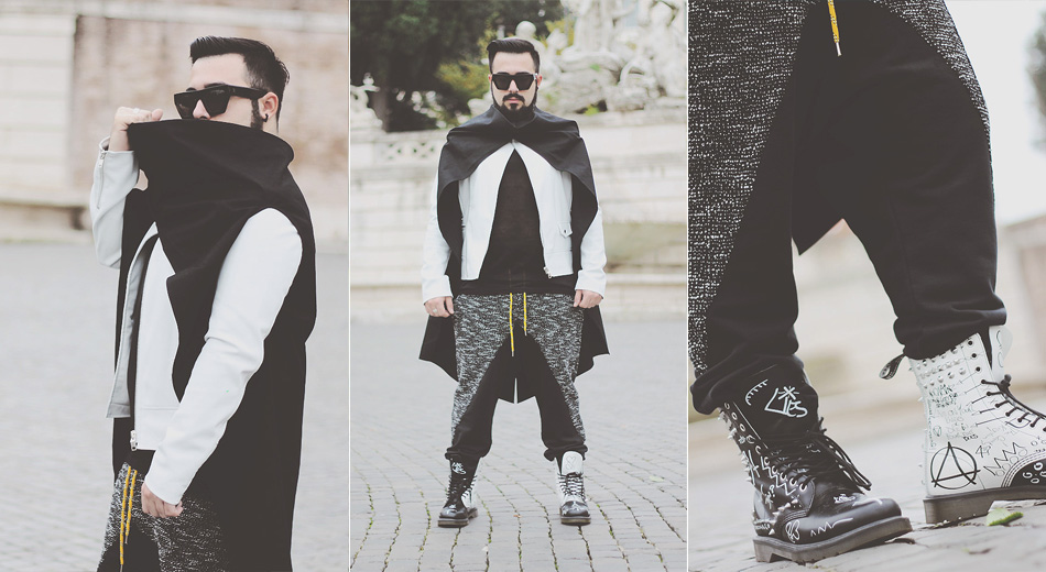 outfit, fashion blogger uomo, fashion blogger roma, dr martens, maychild, art 259 design, cyh, clap your hand, leather boots, stivali pelle