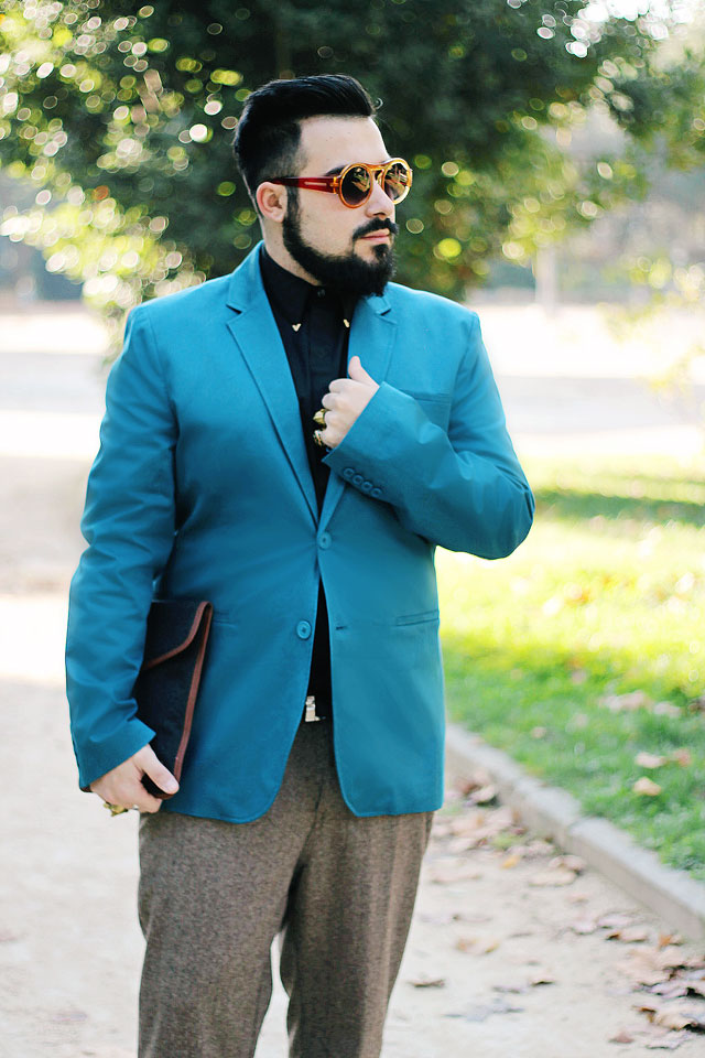 outfit, fashion blogger uomo, roma, guy overboard, promod, pantaloni, tweed, blazer, blu petrolio, baxter, dr martnes, scarpe borchiate, studded shoes, bloodsucker round