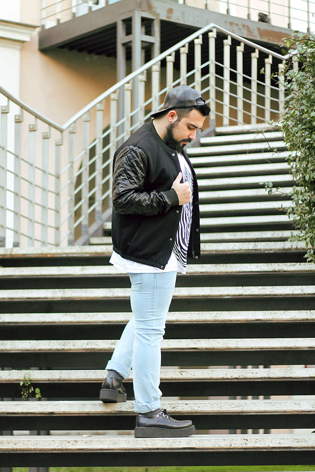 outfit, fashion blogger, moda uomo, men fashion, look, banggood, baseball jacket, giacca baseball, varsity jacket, giacca varsity, cheap monday, henrik vibskov