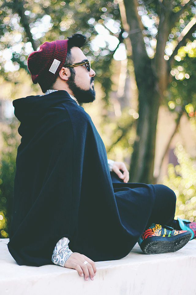 fashion blogger, outfit, xconcept, cape over, adidas, jeremy scott, trainer, letters multicolor, flip-up sunglasses, giant vintage