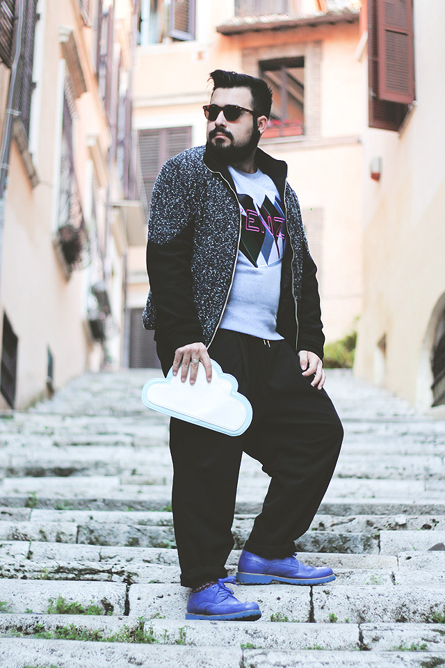 outfit, fashion blogger uomo, guy overboard, kenzo, twin peaks, david lynch, asos, cloud clutch bag, clap your hands, ettore pancaldi, otisopse, athina lux
