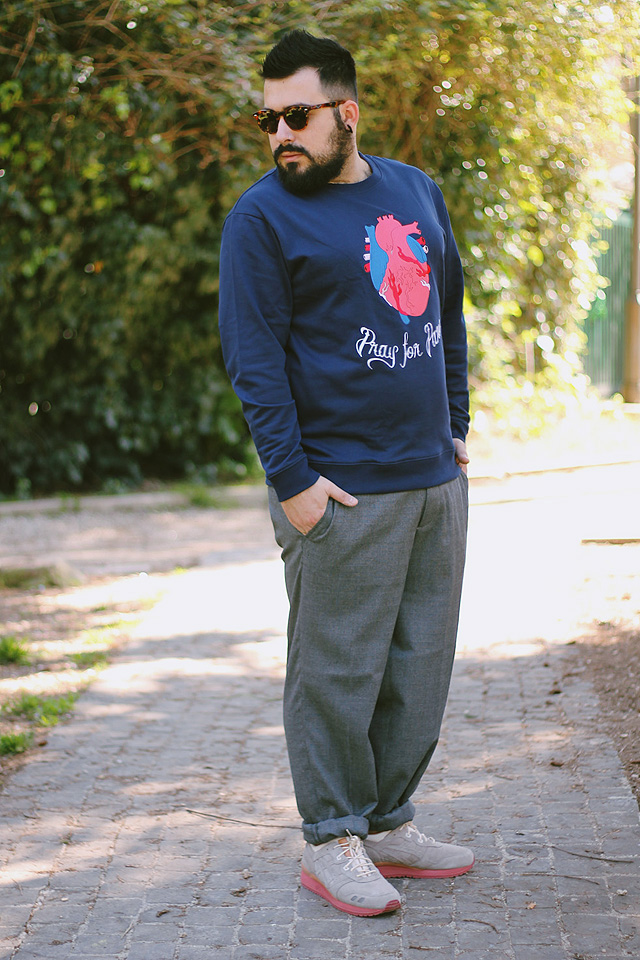 outfit, fashion blogger uomo, packer shoes, asics, gel lyte, sneakers, minimum, pray for paris