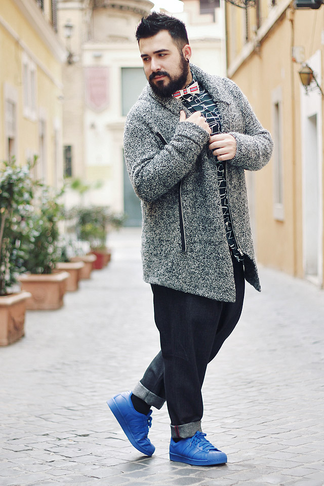 outfit, fashion blogger uomo, sp, soul and passion, papillon, alluminio, adidas superstar supercolor