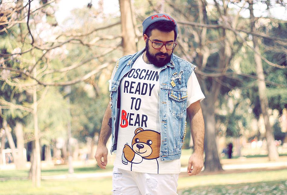 outfit, fashion blogger uomo, roma, men fashion, men outfit, moschino, jeremy scott, bear, capsule collection, Metallic Gold Leaf Reptile Rod Laver