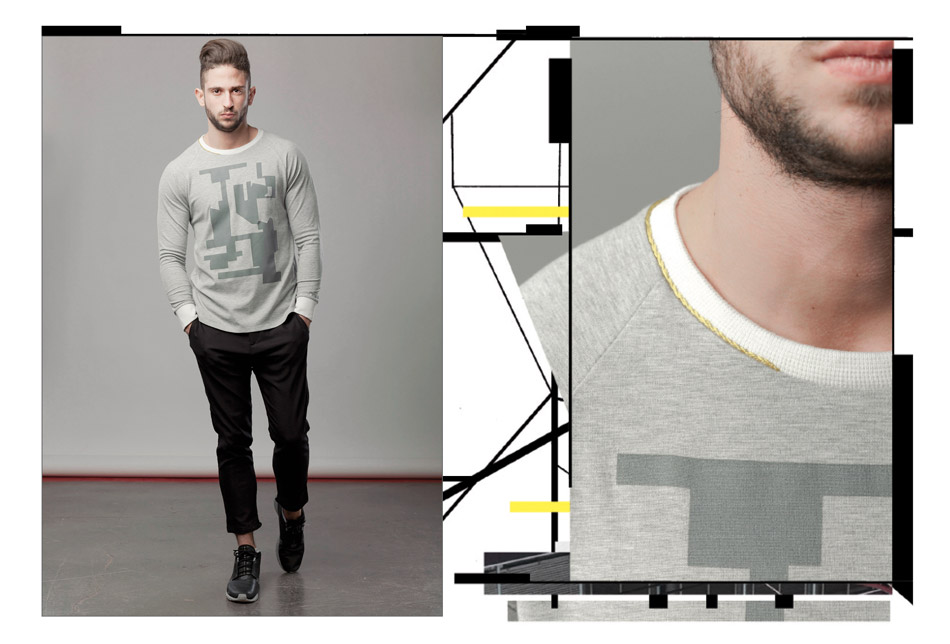 The collection T/SHIRT 15-1 by Eliran Ashraf contains items with abstract prints of architecture and a variety of fabrics all created by the designer