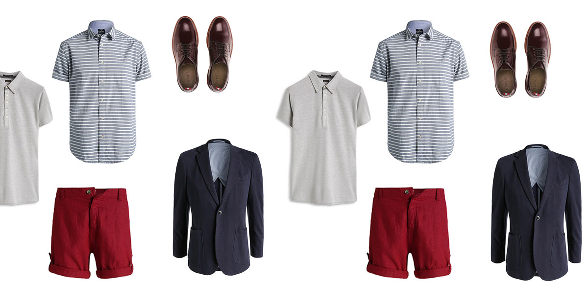 esprit, outfit, casual, estate 2015, camicia manica corta, shorts chino, pantaloncini, giacca casual, giacca sportiva