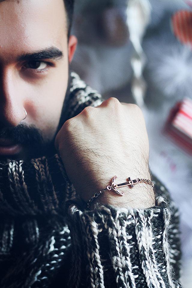 raso gioielli, raso man, bracciale uomo, bracciale regalo natale, bracciale ancora, bracciale timone, bracciale corno napoli