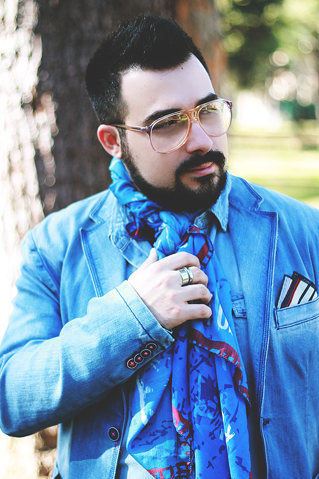 guy overboard, outfit uomo, foulard, rebel yell italy, camicia demin, giacca denim, outfit casual