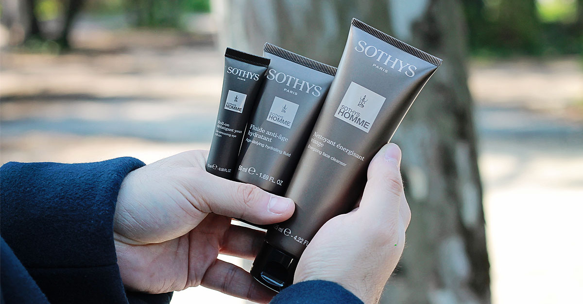 sothys homme, prodotti uomo viso, nettoyant energisant visage, fluide anti-age hydratant, roll-on defatigant yeux