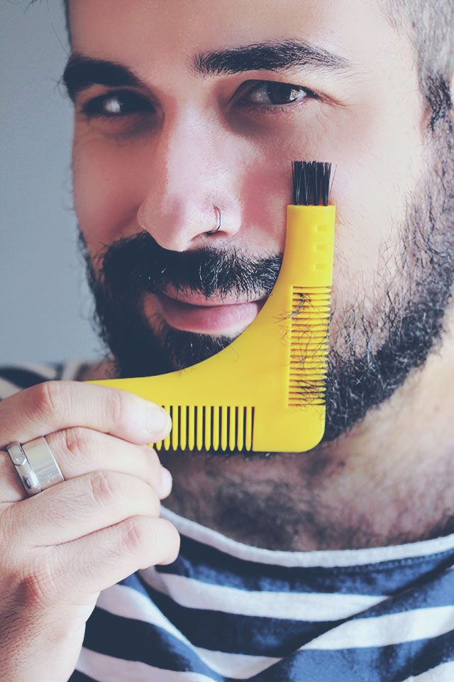 Groomarang, Pettine barba, Forma barba perfetta, Barba uomo, Beard styling, Shaping template comb, Symmetry shape face