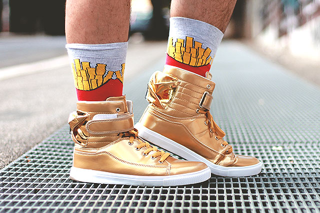 SammyDress, Men Golden High-Top Sneakers • Guy Overboard ...