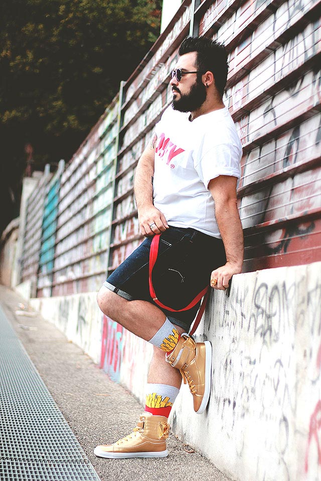 sammydress, men golden high top sneakers, outfit plus size fashion blogger guy overboard