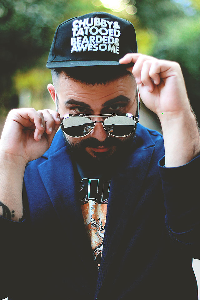 sammy dress baseball cap shape rubber letter chubby tattooed bearded awesome