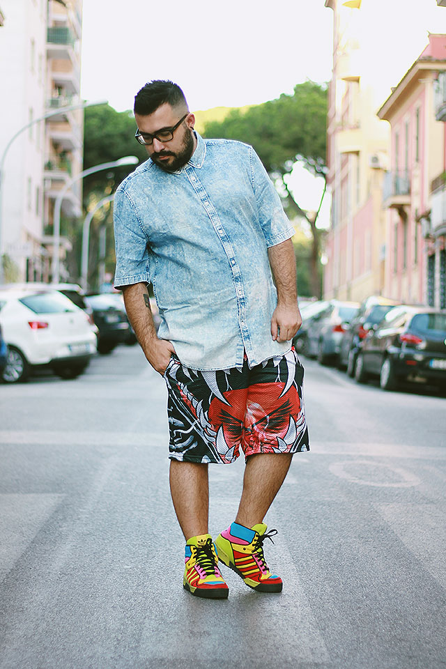 pantaloncini basket uomo fashion, men board shorts tiger teeth