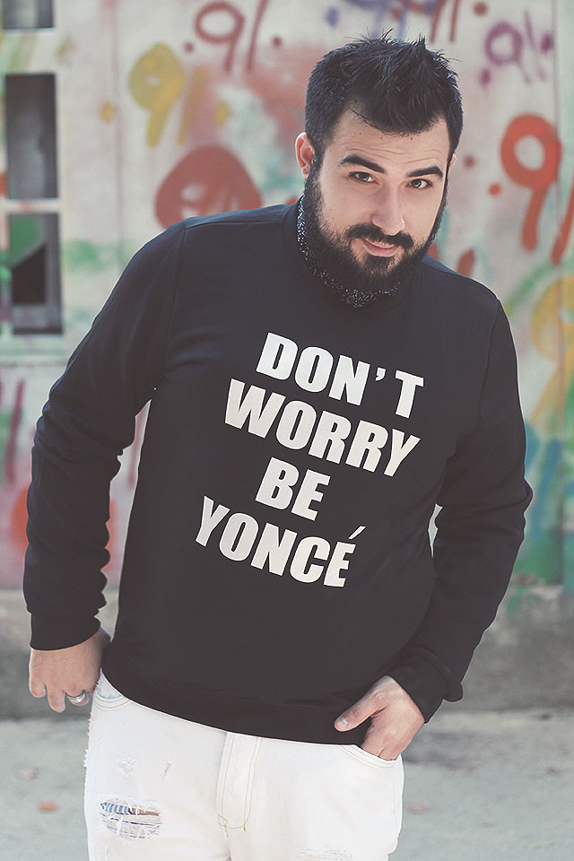 Don't Worry Be Yoncé, Felpa Beyoncé, Printed Long Sleeve O Neck Sweatshirt