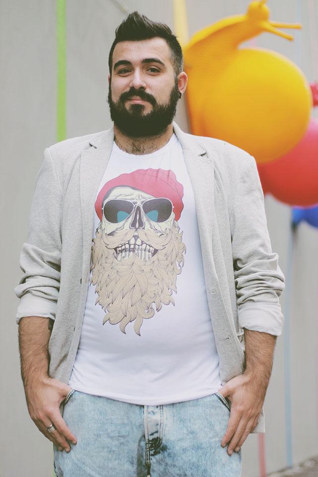Tshirt teschio barba, Beard Skull Tshirt, Newchic