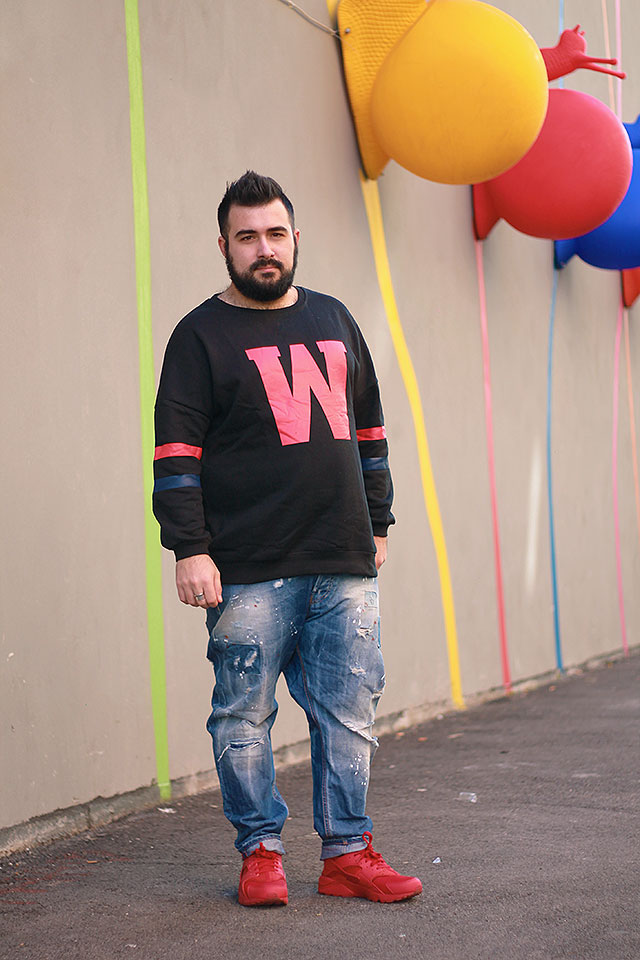 felpa college uomo zaful, plus size male fashion blogger, guy overboard, men outfit