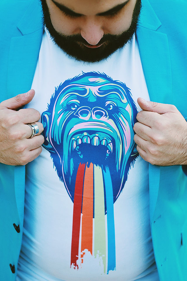 Ape Puking Rainbows Tshirt, Maglietta filtro Snapchat