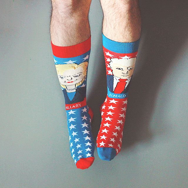 elezioni usa 2016, calzini foot cardigan, calzini donald trump, calzini hillary clinton, united socks of america