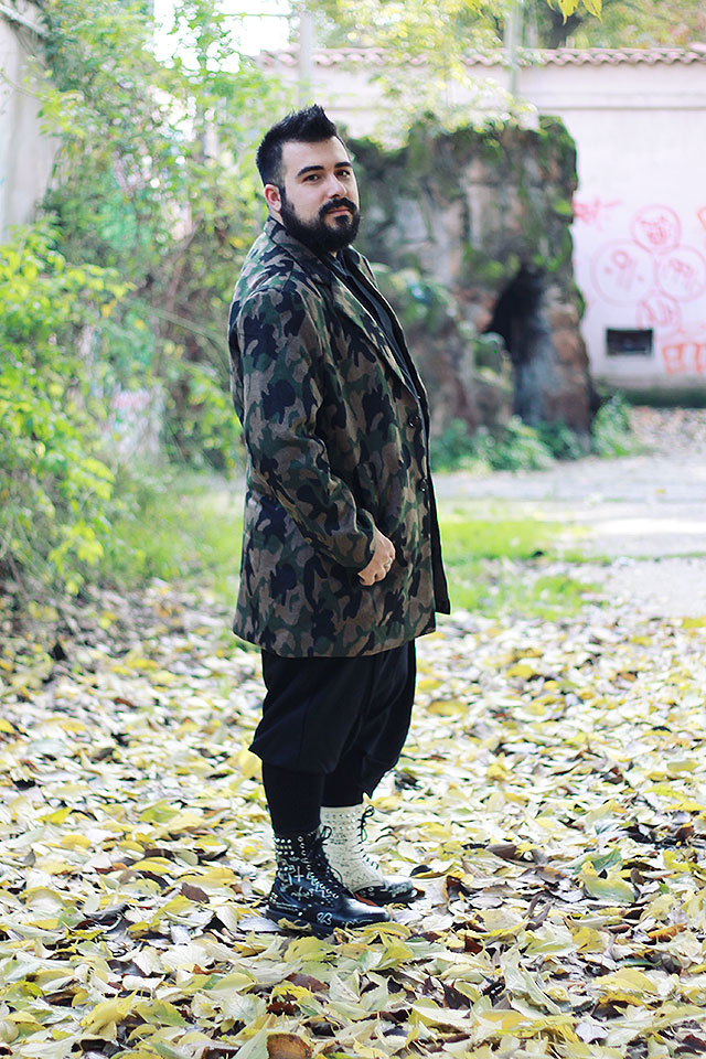 giacca militare mimetica lana sammydress, outfit plus size fashion blogger uomo roma, guy overboard