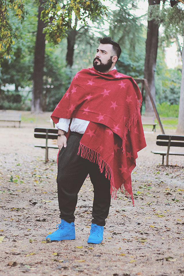 maxi sciarpa uomo, men shawl, outfit uomo inverno 2016, fashion blogger uomo roma, plus size male fashion blogger