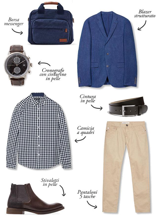 outfit smart-casual, wishlist esprit, blazer strutturato, stivaletti chelsea, camicia quadri
