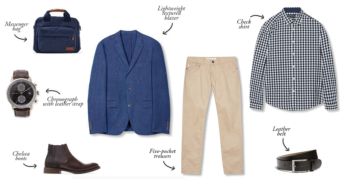 To build a perfect smart casual outfit you can choose a lightweight textured blazer paired with beige trousers, a check shirt and a pair of Chelsea boots