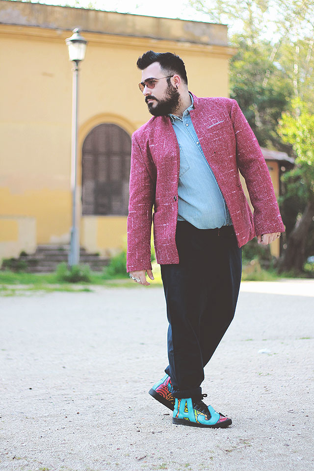 Giacca con collo alla coreana Rosegal, Outfit Plus size man fashion blogger