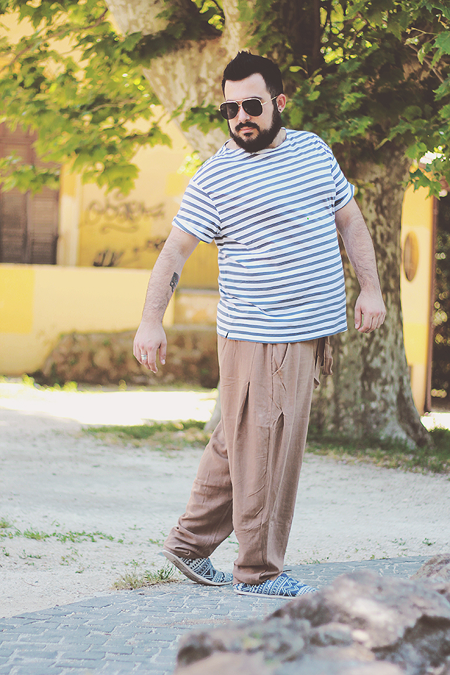 pantaloni harem da uomo, look casual uomo estate