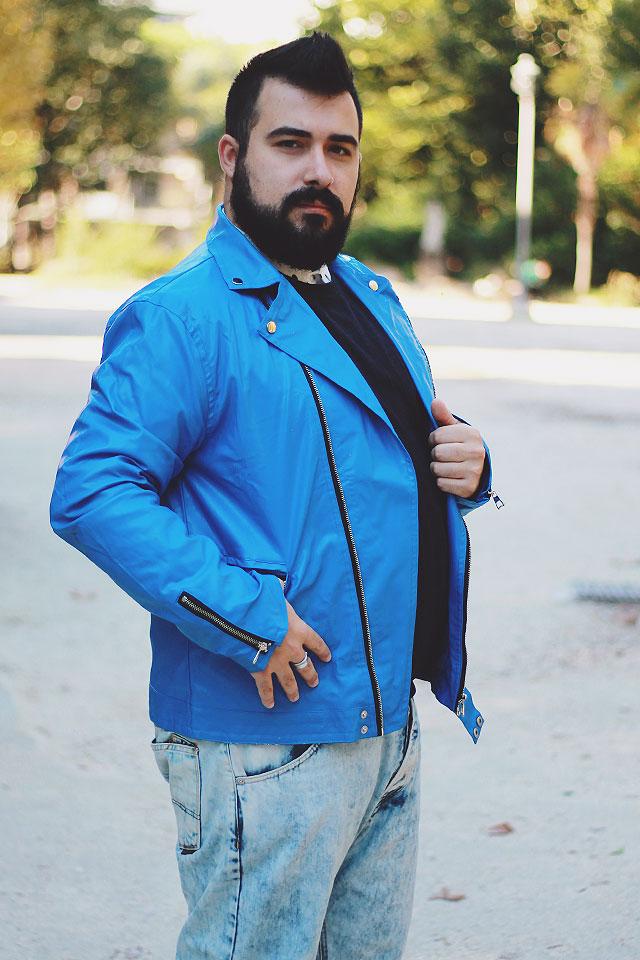 giubbotto biker blu, blue biker jacket