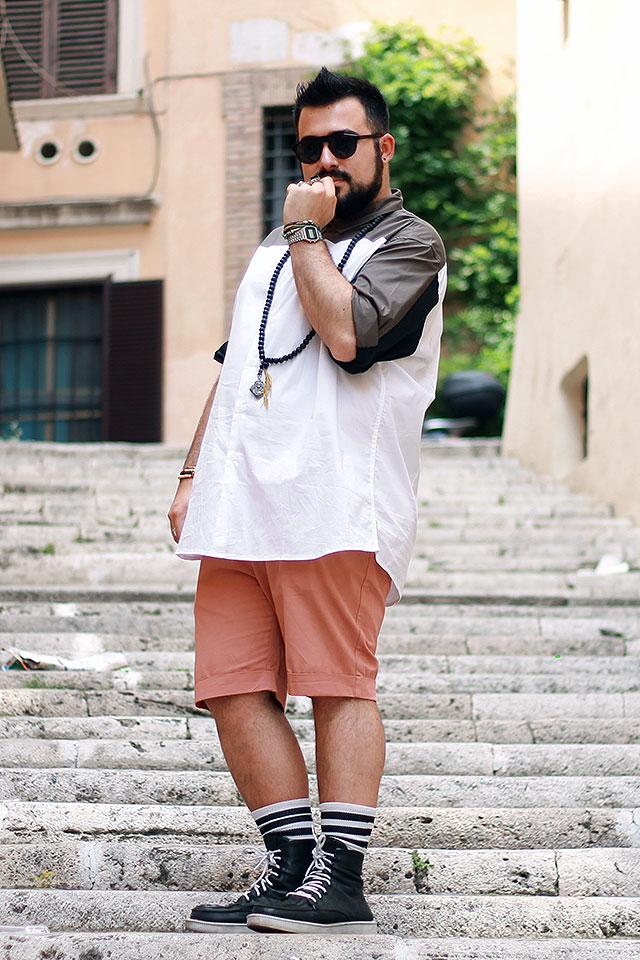 estate plus size outfit, pantaloncini chino, camicia taglie forti
