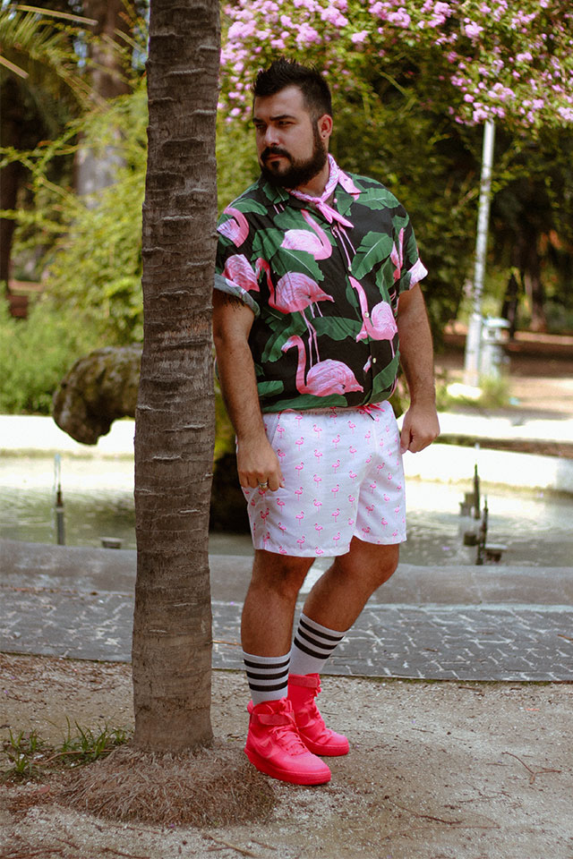 costume da bagno, eubi swimshorts, fenicotteri rosa, plus size men outfit