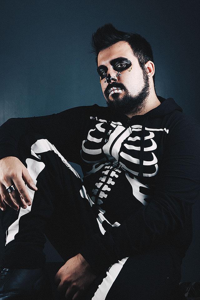 halloween, asos, tuta intera da scheletro