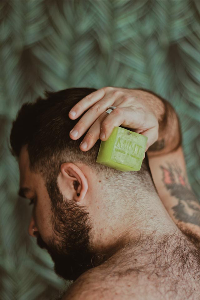 mint on demand, saponi vegan, cleansing bar beard