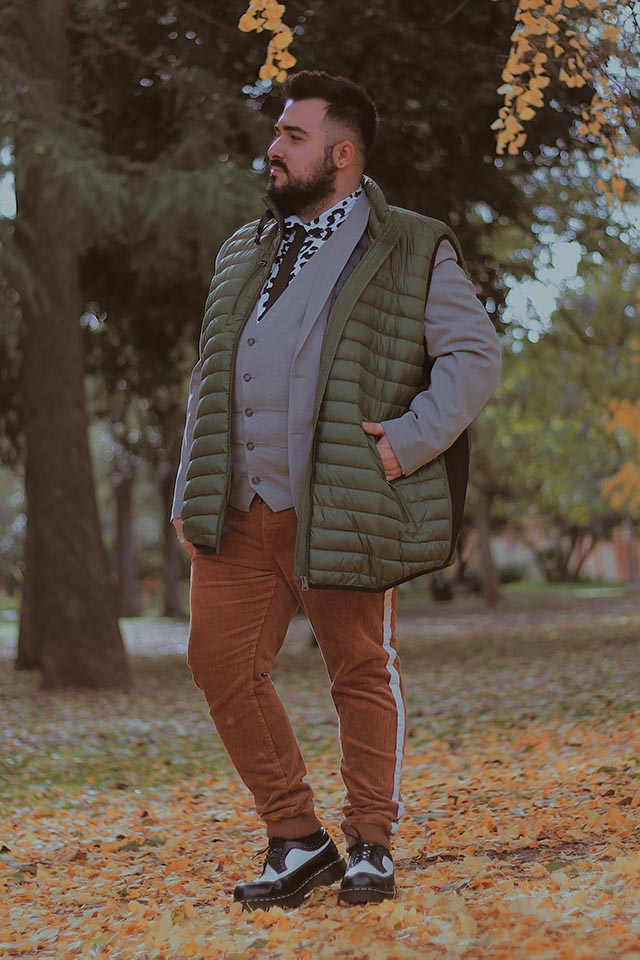 fortmens, smanicato imbottito uomo, gilet vest men fashion, men plus size outfit