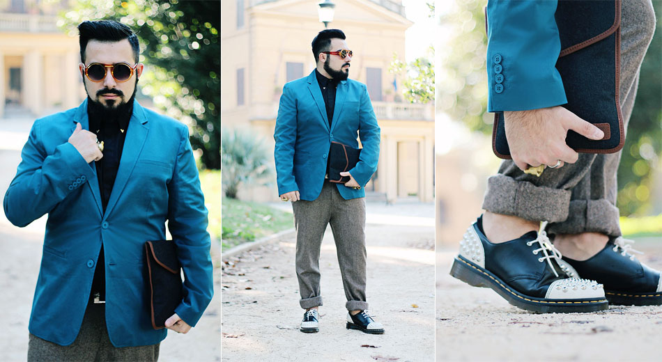 outfit, fashion blogger uomo, roma, guy overboard, promod, pantaloni, tweed, blazer, blu petrolio, baxter, dr martnes, scarpe borchiate, studded shoes, bloodsucker round
