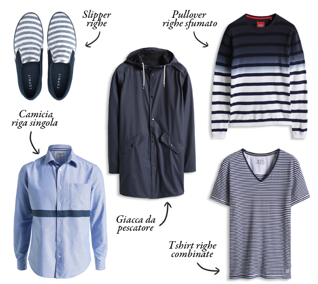 esprit, shop, stile marinaro, uomo, righe, giacca da pescatore, stampa nautica