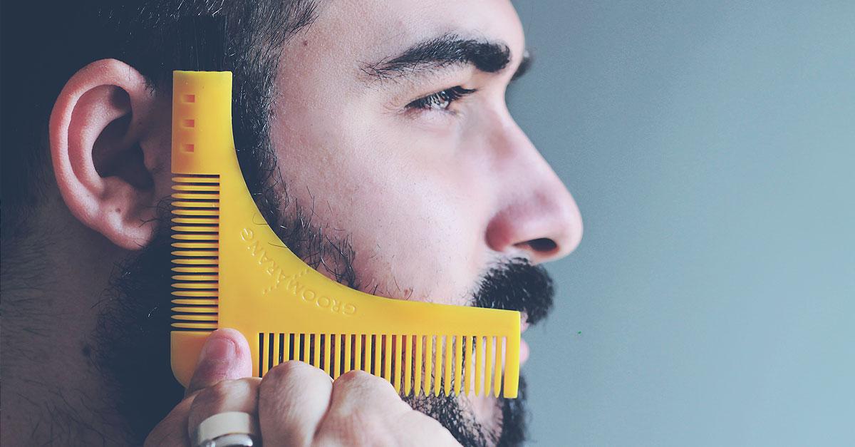 Groomarang, Pettine barba, Forma barba perfetta, Barba uomo, Beard styling, Shaping template comb, Symmetry shape face
