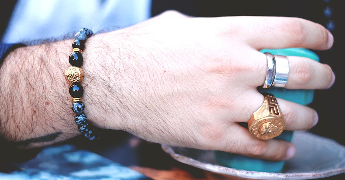 bracciale uomo perle pietra naturale, 8mm stretch men bracelet natural spot stone beads bangle chain