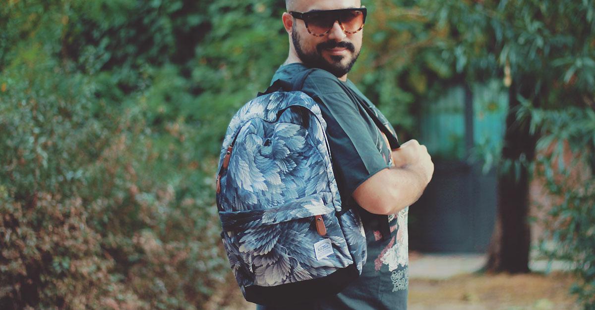 zaino da viaggio, travel backpack, men canvas leaves printing backpack