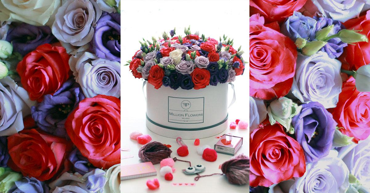 idea regalo fiori, million flowers, rose in scatola, rose boxes, florpassion