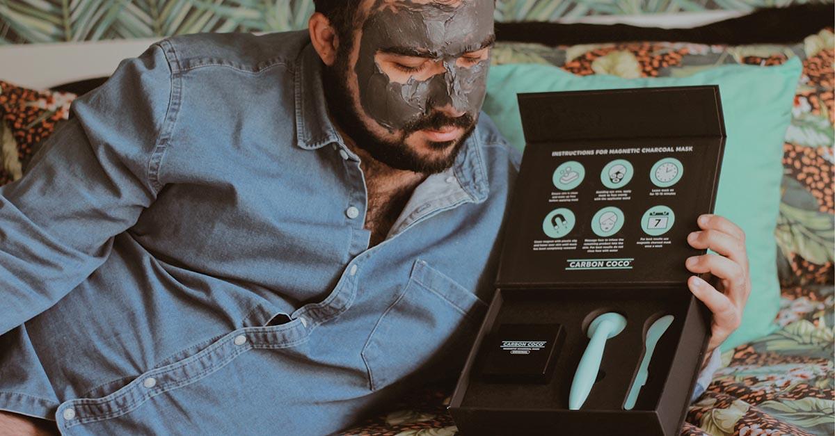 carbon coco, maschera viso nera, maschera al carbone magnetica, magnetic charcoal mask