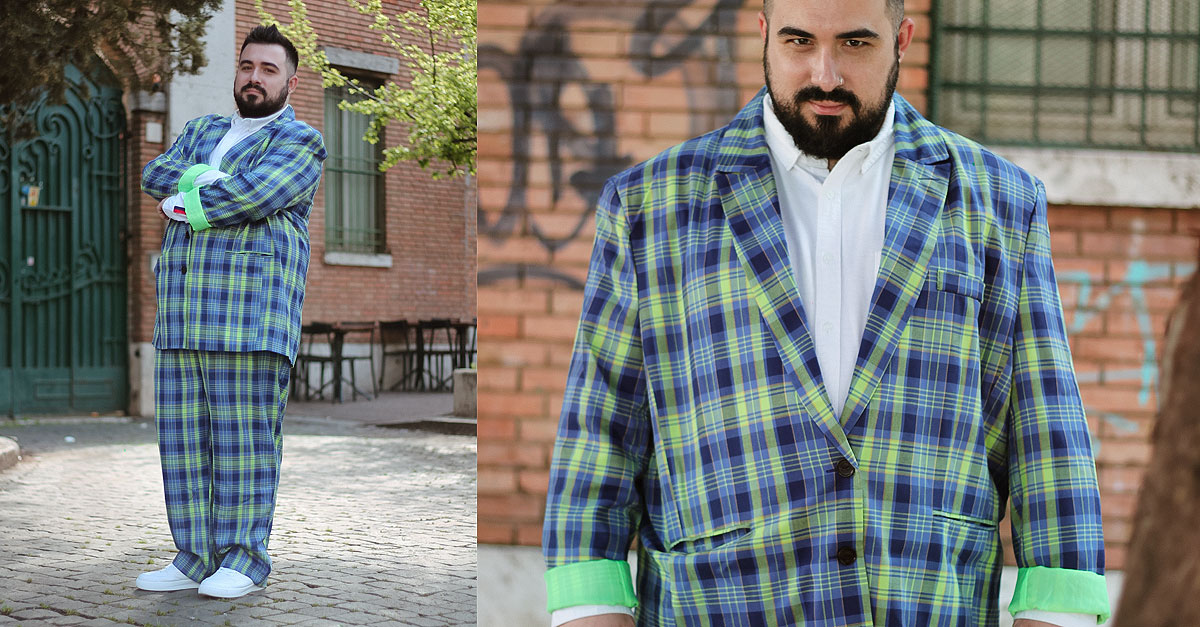 abito da uomo taglie comode, motivo a quadri, plus size fashion, checked suit